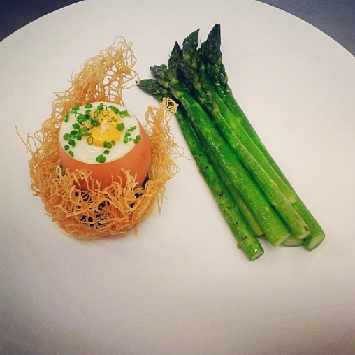 Asparagus, hen egg,  parmesan, savoury custard, chives
